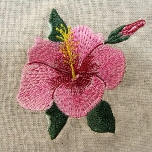 beautiful pink Hibiscus embroidery design