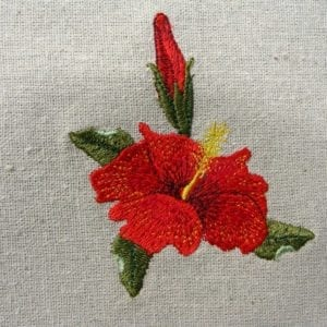 beautiful yellow Hibiscus embroidery design