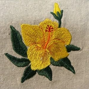 beautiful yellow Hibiscus Machine embroidery design