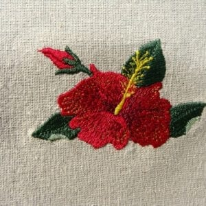 beautiful Red Hibiscus Machine embroidery design
