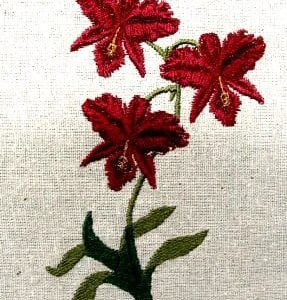 Wine red Orchid embroidery design