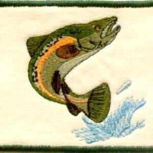 rainbow trout embroidery patch