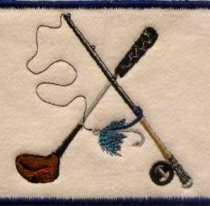 Golf club, fishing pole and lure embroidery patch