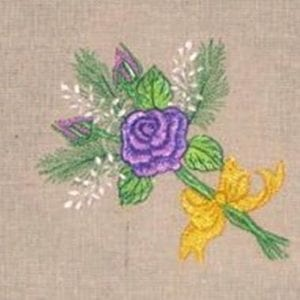 purple rose bouquet embroidery design