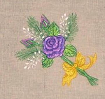 purple rose bouquet embroidery design
