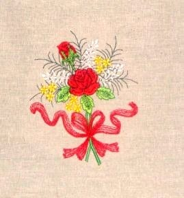 Lovey rose bouquet embroidery design