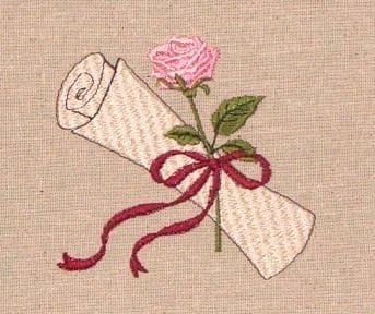 Rose and scroll embroidery design