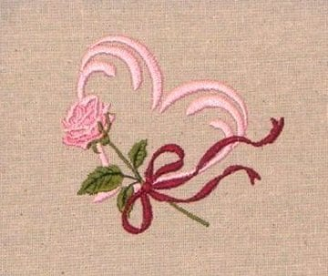 beautiful Rose and Heart embroidery design