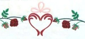 Best Rose and Heart embroidery design
