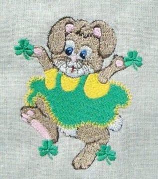 St. Patricks Bunny Clover Machine Embroidery