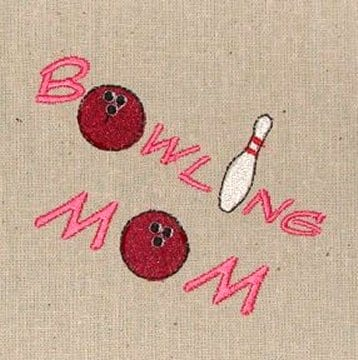 bowling mom pink Machine Embroidery design