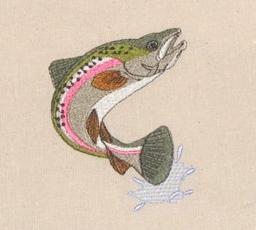 This beautiful rainbow trout embroidery