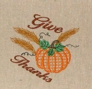 Thanksgiving Pumpkin Embroidery Design
