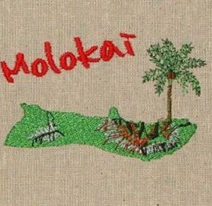 Island of Molokai Machine Embroidery