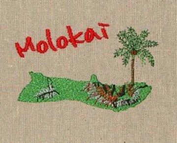 Island of Molokai Machine Embroidery