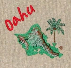Island of Oahu Machine Embroidery