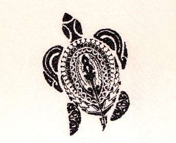 sculpture of island Sea Turtle embroidery