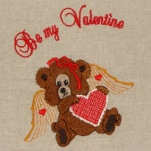 Angle bear valentines embroidery design