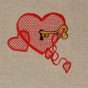 Heart key Machine Embroidery