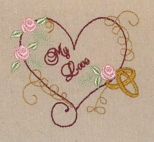 Be mine Wedding rings and heart Machine Embroidery