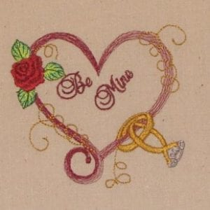 Be mine Wedding rings Machine Embroidery