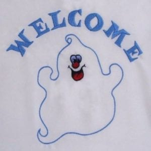 Applique ghost embroidery