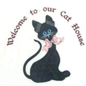 Applique cat embroidery