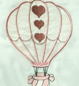 Applique hot air balloon embroidery