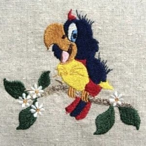 cute Baby parrot Machine Embroidery