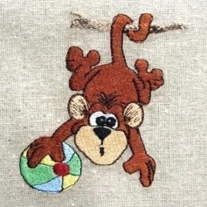 cute Baby Monkey Machine Embroidery