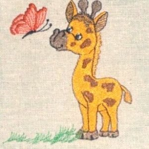 Cute Baby Giraffe Machine Embroidery