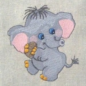 cute Baby Elephant Machine Embroidery