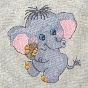 cute Baby Elephant Machine Embroidery