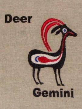 Gemini deer embroidery design