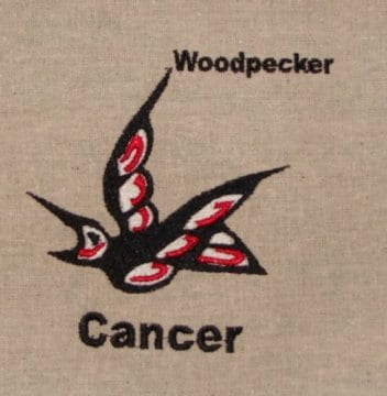 Wood pecker cancer embroidery design