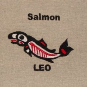 Leo salmon embroidery design