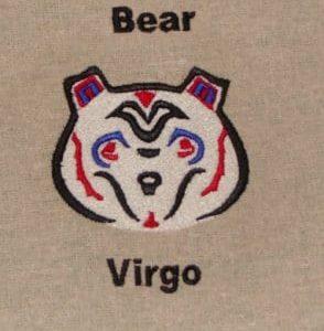 Virgo bear embroidery design
