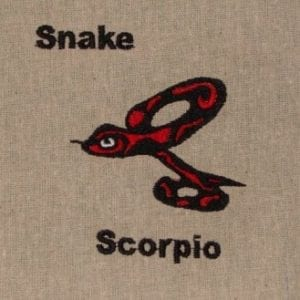 Scorpio snake embroidery design