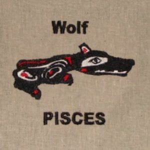 Wolf Pisces embroidery design