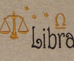 Libra embroidery design