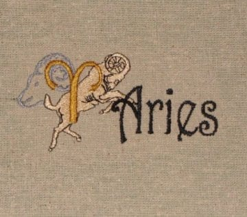 Aries zodiac embroidery design