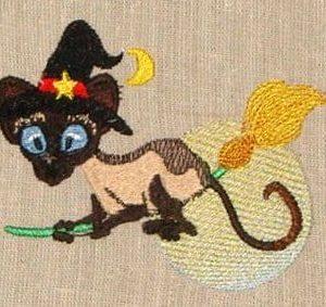 meezer cat Halloween embroidery design