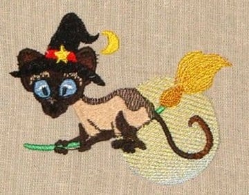 meezer cat Halloween embroidery design
