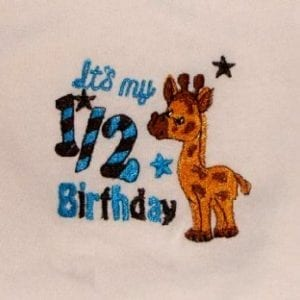 Baby 7 kids birthday embroidery design