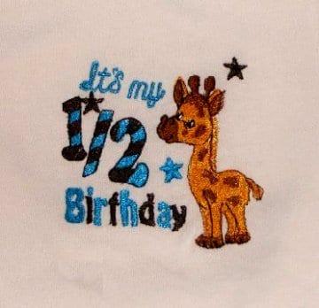 Baby 7 kids birthday embroidery design
