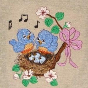 little bluebird with babies embroidery