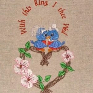 Sweetheart bluebirds embroidery designs