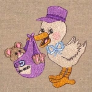 bird delivering a baby teddy bear embroidery