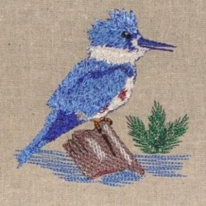 bird sitting on the rock embroidery