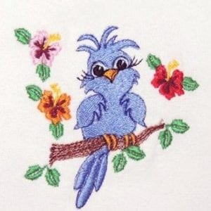beautiful bird and flowers Machine Embroidery design